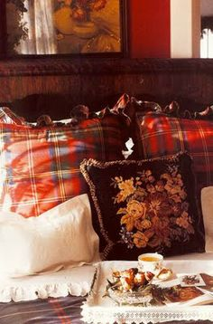RL.  Highland Collection. decor, pillow, red, english cottages, english bedroom, breakfast in bed, tartan plaid, christmas breakfast, cozy beds
