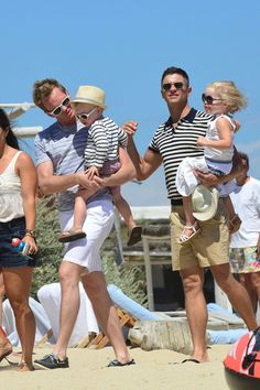 Neil Patrick Harris and partner David Burtka join up with David Furnish and their kids while holidaying in St. Tropez on August 9, 2013