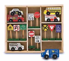 Wooden vehicles and signs doug toy, sign set, toys, melissa, traffic sign, wooden vehicl, doug vehicl, kid, railway set