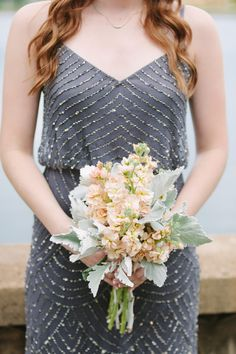 beaded bridesmaid dress and muted bouquet, photo by Justin DeMutiis Photography http://ruffledblog.com/sorosis-building-wedding #bridesmaids #bridesmaiddress