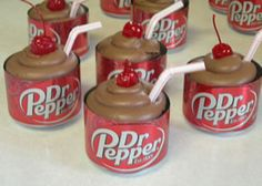 Dr. Pepper cupcakes. So cute for a bakesale or birthday