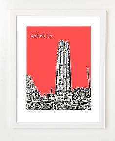 North Carolina State University Belltower Skyline Poster 8x10 - $20