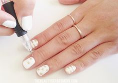 Gold + White nails