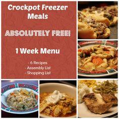 Printable Crockpot Freezer Meals Weekly Menu e-Cookbook - Money Saving Mom