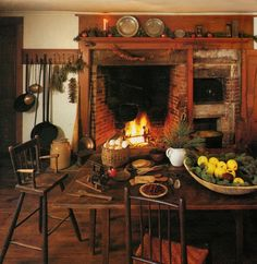 kitchen fireplace!!  so love this room...