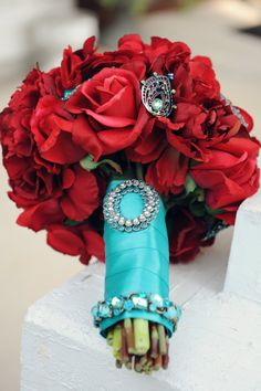 Real Touch Bridal Bouquet with Rhinestone Brooch Accents - Red and Aqua