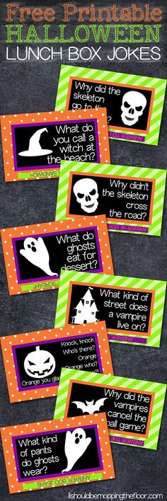 Free Printable Halloween Lunch Box Notes   Your kids will crack up when you stick these in their lunch boxes!