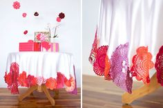 Use colorful doilies to update a plain tablecloth.
