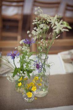 Flowers in jam jars!