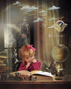 books, little girls, dream, cindi grundsten, art