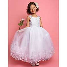 A-line Princess Straps Ankle-length Tulle And Satin Flower girl Dress(618895)