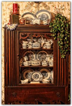 serene cozi cupboard, dish collector, currier and ives