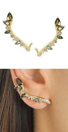 Tourmaline + Diamond String Earrings