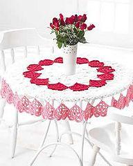Valentine's Heart Tablecloth--Free pattern at Ravelry doili, valentine day, knitting patterns, table toppers, crochet hearts, tablecloths, crochet patterns, yarn, valentin tablecloth