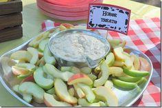 "Farm birthday party food -- ""horse treats,"" apples and dip hors, healthy snacks, birthday parties, book club snacks, birthday party foods, farm birthday, 3rd birthday, farm party, farm parti"
