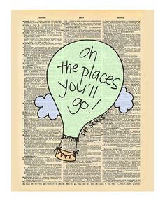 'Oh the Places' Dictionary Print
