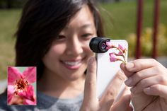 The Olloclip, a 3-in-1 fisheye, wide-angle, and macro lens for your phone. Yup, we carry it now, 'cause you guys asked for it! ($70.00 at photojojo.com/store). pretty neat