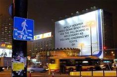 "Billboard in Warsaw ""Molly hooper I need some body parts...SH""  Sherlock, funny"