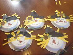 Paper plate scarecrows classroom idea, scarecrow, art, papers, novemb school, autumn crafts, craft ideas, paper plates, kid