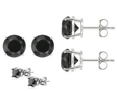 #5: Authentic Black Cubic Zirconia Sterling Silver Stud Earrings Top Quality Cubic Zirconia. 1.50 Carat Each Stone, Total Weight of 3.00 Carat. Heavy Casting Settings