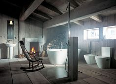 An elegant tribute to rustic & country decor bathroom with #fireplace