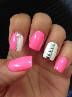 Pink nails with silver studs