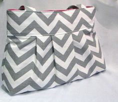 Pleated bag Medium Chevron Ash gray and by DoodlescootDesigns