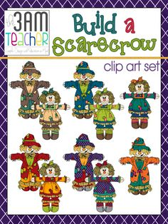 Build a Scarecrow Bundled Clip Art Set!! Over 50 graphics for commercial use!! $
