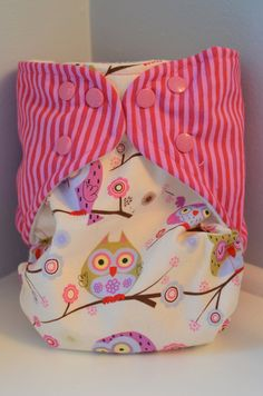 Pink Owls Cloth Diaper