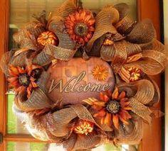 Deco Mesh Fall Wreath For Door or Wall Burlap Grapevine Pumpkins Moss ...