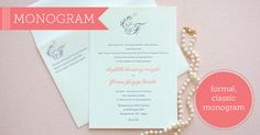 Monogram Letterpress Wedding Invitations by Delphine