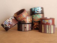 hand painted recycled leather cuff