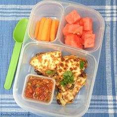 Black Bean Quesadilla lunch packed in  @EasyLunchboxes