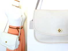 Vintage Coach White City Bag 9790 Leather Messenger by hanniandmax, $149.00
