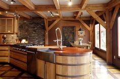 Wonderful Timber-Framed House Interior Designs: Eclectic Kitchen Design Wooden Kitchen Island Modern Timber Framed Home