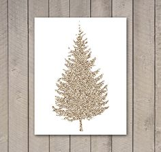gold Christmas tree art print.