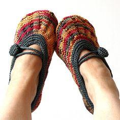 Knitting Pattern (PDF file) Shine Hom Slippers (ADULT size). $3.99, via Etsy.