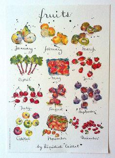 Fruits Art Print from Original Ink and Watercolour Illustration delici food, pen, eleg danc, watercolour illustrations, art prints, art drawings, origin ink, fruit art, white kitchens