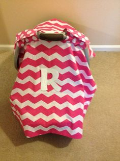 Pink Chevron Carseat Canopy. Infant Carseat cover. 100% Cotton