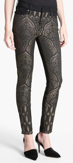 Metallic, patterned jeans