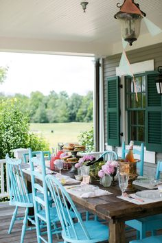 rustic table, color, architecture interiors, dinner parties, painted chairs, patio, hous, back porches, front porches
