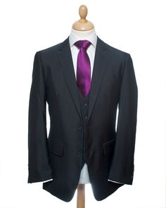 Charcoal Three Piece Mens Suit