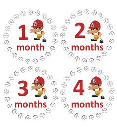 Monthly Baby Boy Onesie Stickers - St. Louis Cardinals - Baseball - MLB Sports WATERPROOF Baby Shower Gift. $9.00, via Etsy.