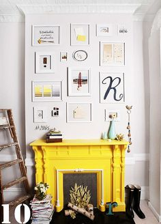Perhaps not yellow but I do see a bright colour in our fireplace's future!!  Frames (no glass) painted same colour as the wall.