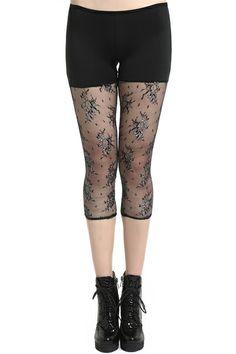 ROMWE Black Color Hit Lace Capri Leggings