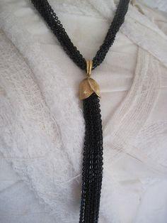 Black and Gold Trifari Tassel Necklace.