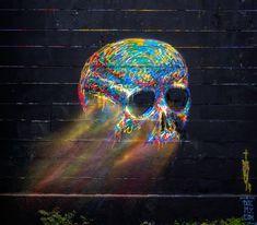 skulls, street art utopia, graffiti, art pop, skull art, barcelona spain, bright colors, chalk art, streetart