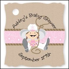 Cowgirl Baby Shower.  Visit us at http://www.modern-baby-shower-ideas.com/western-baby-shower.html Use coupon code: Modern11 and save 11%
