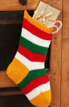 Striped Holiday Stocking Free Knitting Pattern from Red Heart Yarns