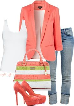 Love the outfit! jean, purs, summer looks, style, blazer, color, outfit, casual fridays, shoe